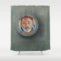 wes anderson Shower Curtains featuring Bill Murray / Steve Zissou / Wes Anderson  by Heather Buchanan