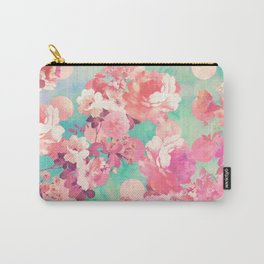 Romantic Pink Retro Floral Pattern Teal Polka Dots Carry-All Pouch