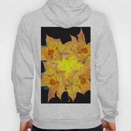 Golden Yellow Fall Leaves Sunflower Black Design Pattern Art Hoody