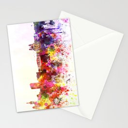 Marseilles skyline in watercolor background Stationery Cards