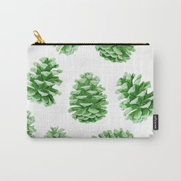 Minty Green Pine Cones Carry-All Pouch