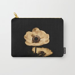 Anemone Flowers, Black with Golden Frame, Floral Nature Photography Carry-All Pouch