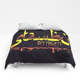 Istanbul By Night Skyline Cityscape Typography Comforters