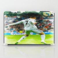 ronaldo iPad Cases featuring Cristiano Ronaldo celebrates after scoring by Don Kuing