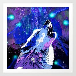 WOLF MOON AND SHOOTING STARS Art Print
