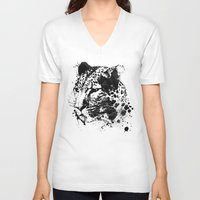 leopard V-neck T-shirts featuring Leopard by DIVIDUS