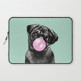 Bubble Gum Black Pug in Green Laptop Sleeve