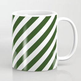 Large Dark Forest Green and White Candy Cane Stripes Coffee Mug