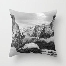 Yosemite Valley In Winter B&W   1-11-17  Throw Pillow