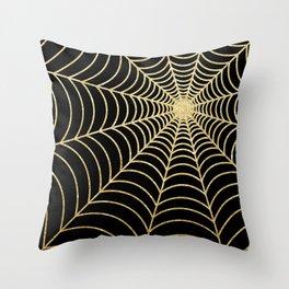 Spiderweb   Gold Glitter Throw Pillow
