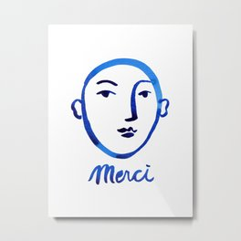 Merci, face watercolor painting, blue and white printable wall art, minimalist wall art print, insta Metal Print