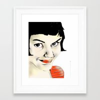amelie Framed Art Prints featuring Amelie by Bubble Trump Ltd