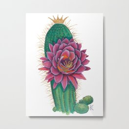Crowned Cactus with Pink Flower Blossom Metal Print