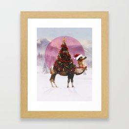 Santa Camel Framed Art Print