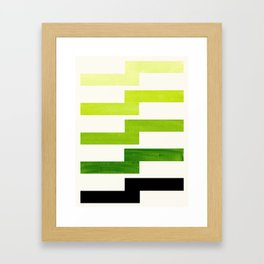 Minimalist Mid Century Modern Sap Green Watercolor Painting Lightning Bolt Zig Zag Pattern With Blac Framed Art Print