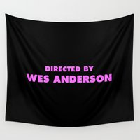 wes anderson Wall Tapestries featuring Directed By Wes Anderson by FunnyFaceArt