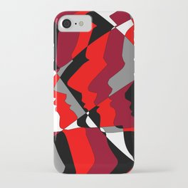 Profiles in Red, Maroon, Black, Gray and White iPhone Case