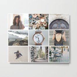 Soft Grey and Tan Moodboard Metal Print