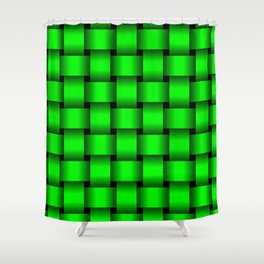Large Neon Green Weave Shower Curtain