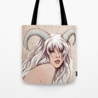 aries Tote Bags featuring Aries by Vivian Lau