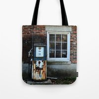 pocket fuel Tote Bags featuring Fuel by 100 Watt Photography