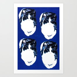 Black and white cat pattern on blue Art Print
