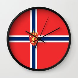 Flag of Norway Scandinavian Cross and Coat of Arms Wall Clock