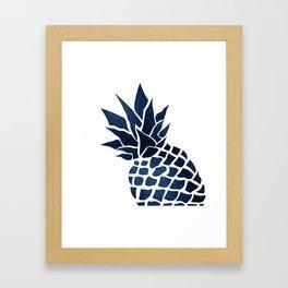Pineapple, Big Blue, Denim Navy Framed Art Print