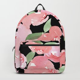 Blush Peony - Black Backpack