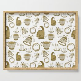 Gold penguins with Christmas sweater Serving Tray