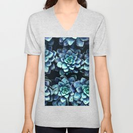 Blue And Green Succulent Plants Unisex V-Neck