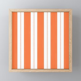 Tangerine-Orange And White Striped Pattern With Yellow Accents Framed Mini Art Print