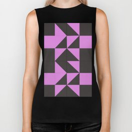 Pink Grey Geometric Square Pattern Biker Tank