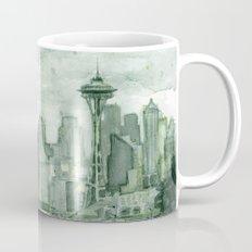Seattle Skyline Watercolor Space Needle Emerald City 12th Man Art Mug