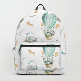 Hot Air Balloon Watercolor Bohemian Bunny Backpack