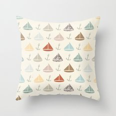 boats and anchors pattern Throw Pillow