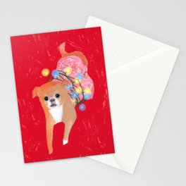 Dog in Pink Flower Dress Stationery Cards