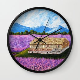 Provincial Farm by Mike Kraus - art france french house home lavender flowers europe mountains sky Wall Clock