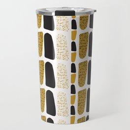Yellow and Black Abstract Drawn Cryptic Symbols Travel Mug