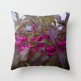 Fruits of Autumn in bold pink Throw Pillow