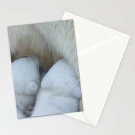 Polar Bear mom feeding twins cubs. Stationery Cards