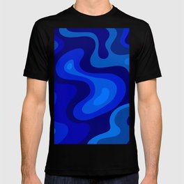 Blue Abstract Art Colorful Blue Shades Design T-shirt