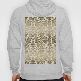 White & Gold Floral Damask Pattern Hoody