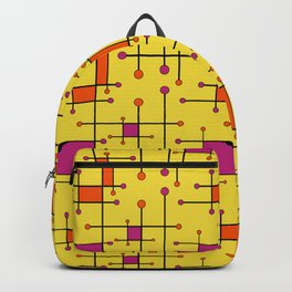 Intersecting Lines in Orange, Hot Pink on Yellow Backpack