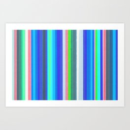 Vertical Colored Lines - Soft Cold Colors Art Print