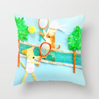 tennis Throw Pillows featuring Tennis by Tessa Killingbeck