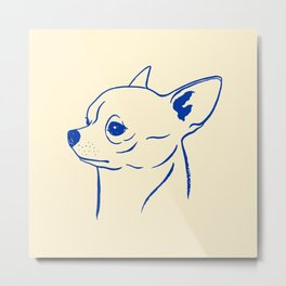 Chihuahua (Beige and Blue) Metal Print