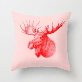 Moose red Throw Pillow