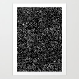 Crazy monsters in a crowded pattern Art Print