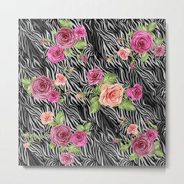 Zebra and Roses Metal Print